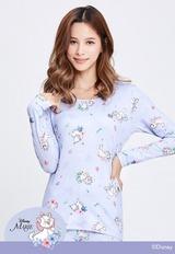 玩趣瑪麗貓溫灸刷毛圓領發熱衣(薰衣紫 女S-2XL)
