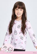 悸動瑪麗貓溫灸刷毛圓領發熱衣(戀愛粉 童100-150)
