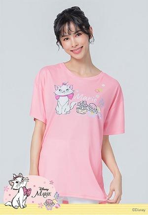 櫻旅瑪麗貓防曬排汗寬版涼感衣(嫩橘粉 女S-2XL)