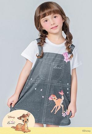 粉櫻吊帶斑比防曬排汗長版涼感衣(丹寧黑 童100-150)