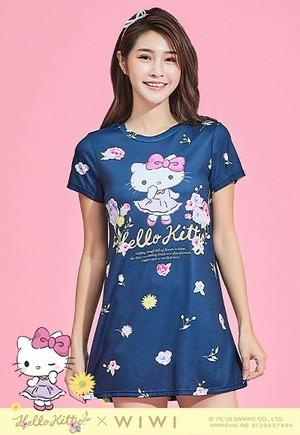 群花Hello Kitty防曬排汗長版涼感衣(湛海藍 女S-3XL)