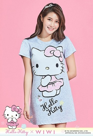 窈窕Hello Kitty防曬排汗長版涼感衣(女生-麻花灰S-3XL)