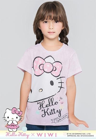 歪頭Hello Kitty防曬排汗涼感衣(麻花粉 童100-150)