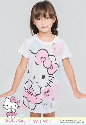 貝殼Hello Kitty防曬排汗長版涼感衣(純淨白 童100-150)