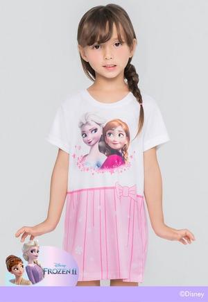 冰雪奇緣粉色雪花裙防曬排汗長版涼感衣(純淨白 童100-150)