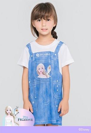 牛仔艾莎雪寶吊帶防曬排汗長版涼感衣(丹寧藍 童100-150)