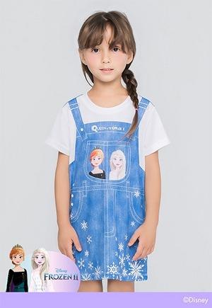 牛仔艾莎姐妹吊帶防曬排汗長版涼感衣(丹寧藍 童100-150)