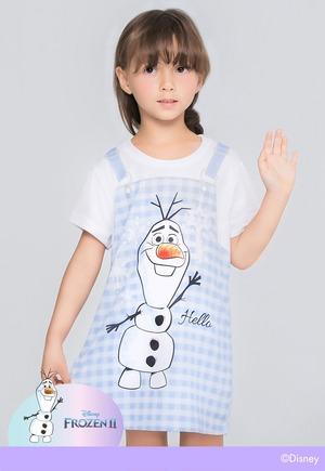 藍色格紋雪寶吊帶防曬排汗長版涼感衣(天空藍 童100-150)