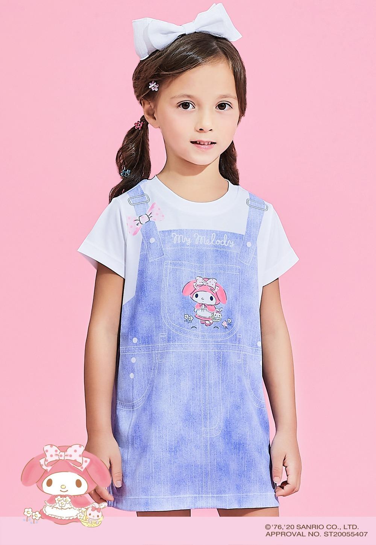 童話美樂蒂吊帶防曬排汗長版涼感衣(丹寧淺藍 童100-150)