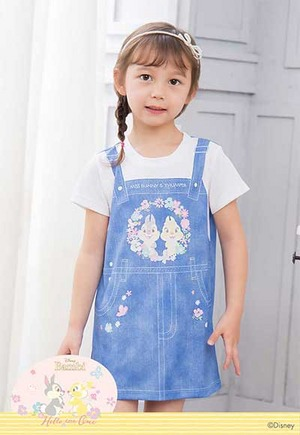 春櫻吊帶邦尼與桑普 防曬排汗長版涼感衣(丹寧藍 童100-150)