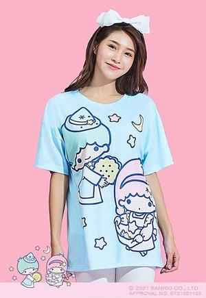 甜蜜星空雙星仙子防曬排汗寬版涼感衣(天空藍 女S-2XL)
