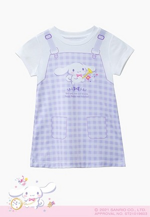 紫格吊帶樂隊大耳狗防曬排汗長版涼感衣(薰衣紫 童100-150)