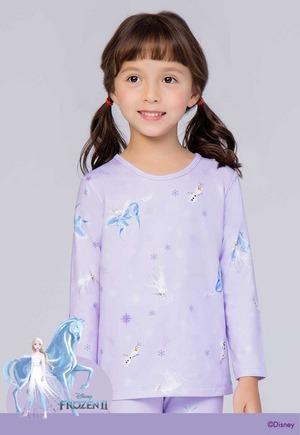 紛雪艾莎 溫灸刷毛圓領短版發熱衣(薰衣紫 童100-150)