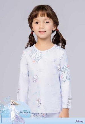線條艾莎 溫灸刷毛圓領短版發熱衣(芋泥紫 童100-150)