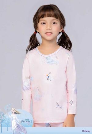 森林艾莎 溫灸刷毛圓領短版發熱衣(嫩橘粉 童100-150)