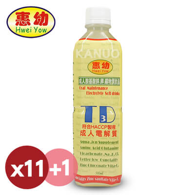 【惠幼】成人電解質 成人電TD3飲品 (共12瓶入,500ml/瓶)