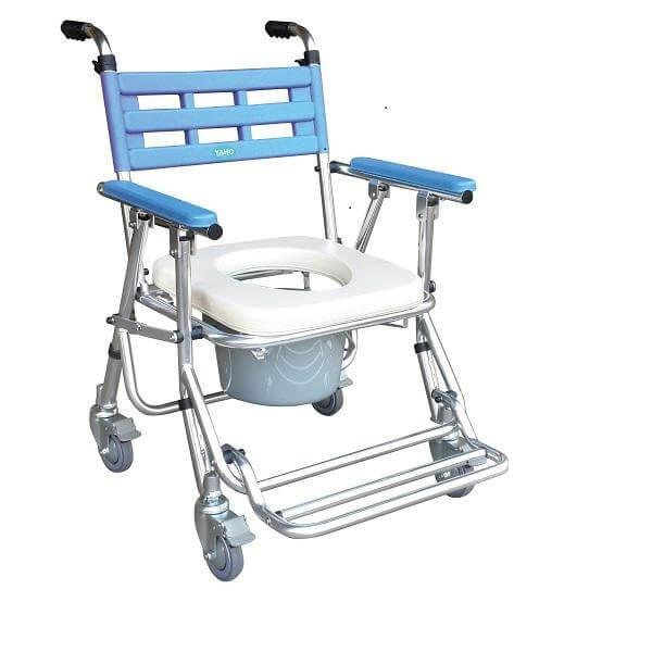 【耀宏】鋁合金收合式洗澡椅便器椅(有輪/高低可調) YH121-3