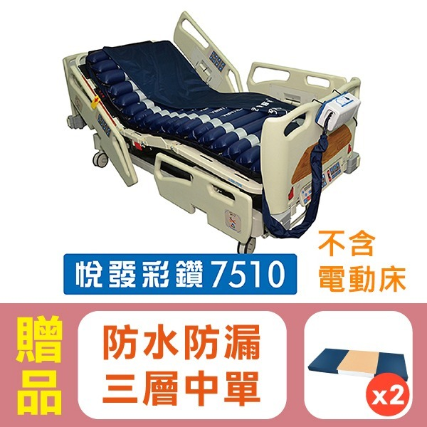 派立交替式壓力氣墊床(未滅菌)/ 悅發彩鑽7510,贈品:高透氣親膚涼感墊x1+中單x2