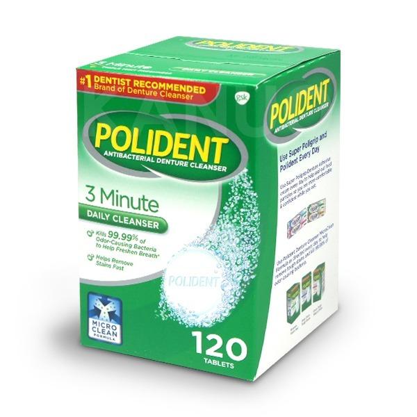 【美國POLIDENT】假牙清潔錠 120錠/盒 (歌藍速假牙清潔錠)