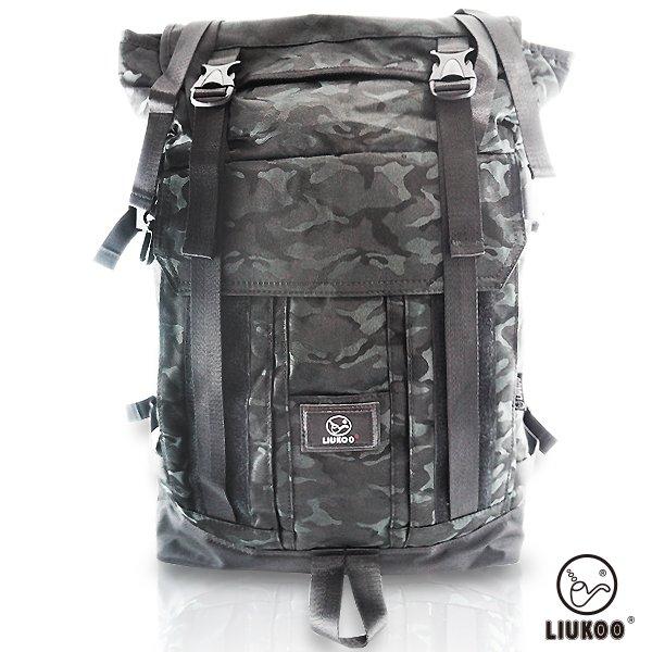 LIUKOO戰地叢林迷彩系列 - 野戰質感越野防潑水大容量登山包-【神秘黑】