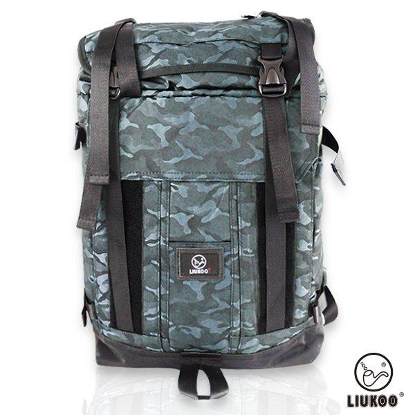LIUKOO戰地叢林迷彩系列 - 野戰質感越野防潑水大容量登山包-【沉穩藍】