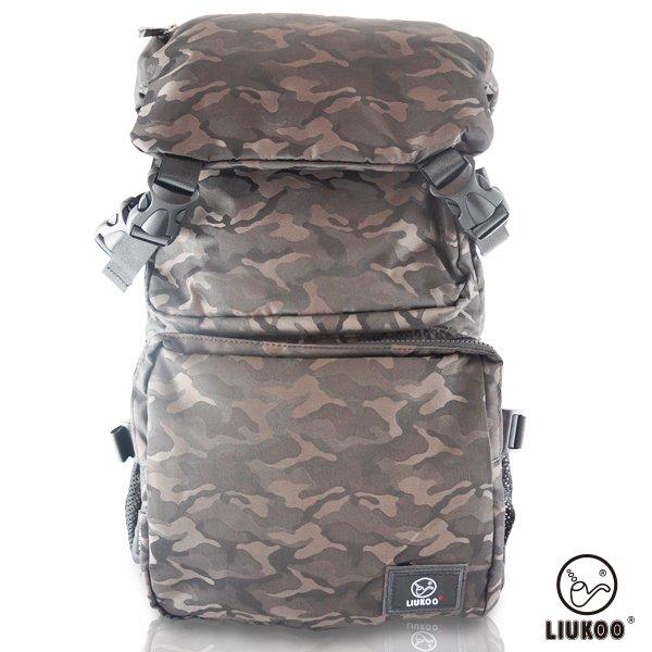 LIUKOO戰地叢林迷彩系列 -大容量越野質感防潑水登山後背包-【質感棕】