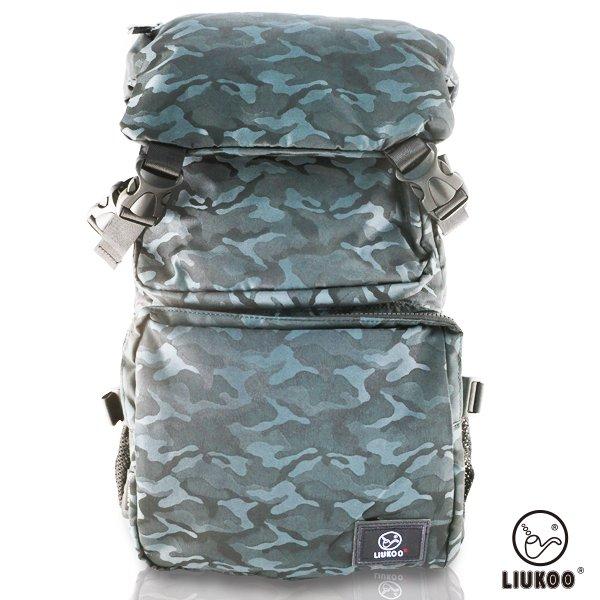 LIUKOO戰地叢林迷彩系列 -大容量越野質感防潑水登山後背包-【沉穩藍】