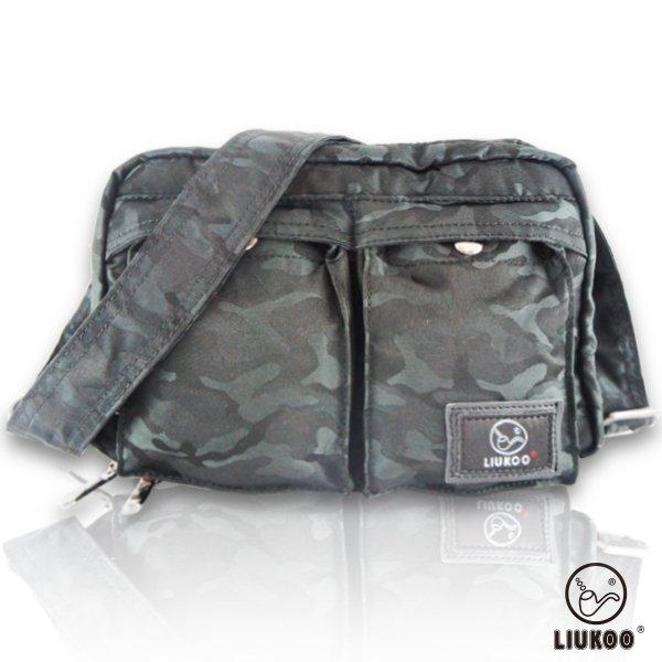 LIUKOO戰地叢林迷彩系列 - 雙口袋質感防潑水小容量側背包 -【神秘黑】