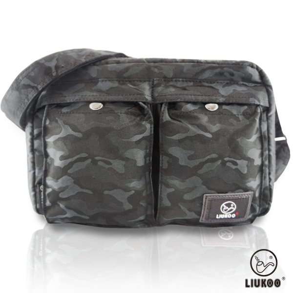 LIUKOO戰地叢林迷彩系列 - 雙口袋質感防潑水中容量側背包 -【神秘黑】