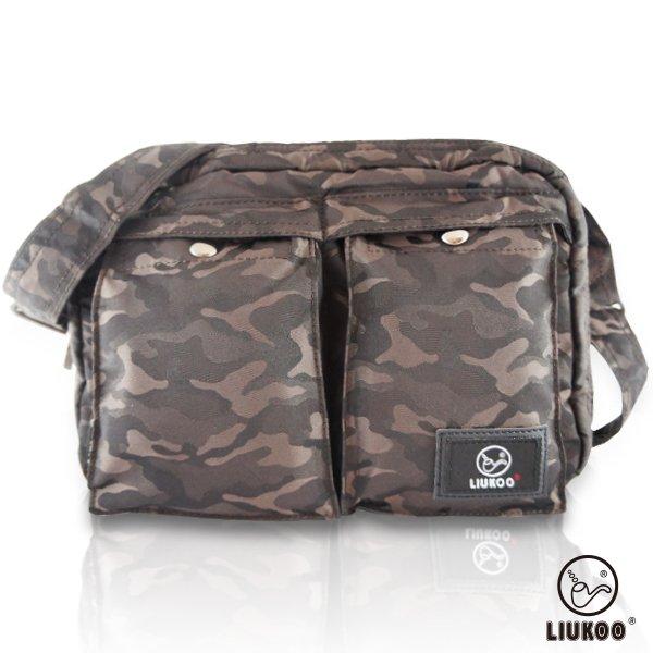 LIUKOO戰地叢林迷彩系列 - 雙口袋質感防潑水中容量側背包 -【質感棕】