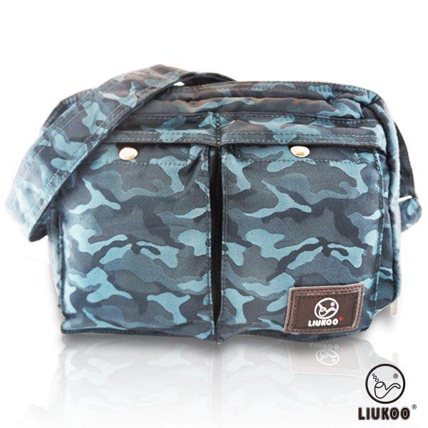 LIUKOO戰地叢林彩系列 - 雙口袋質感防潑水中容量側背包 -【沉穩藍】