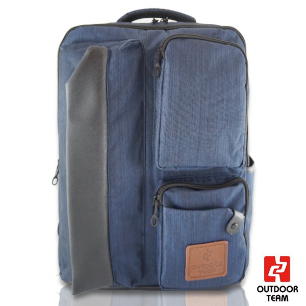 【禾雅】-OUTDOOR TEAM時尚休閒系列-【OD8827-BU00】-韓系 休閒 直拉鏈質感大容量後背包 -【丹寧藍】