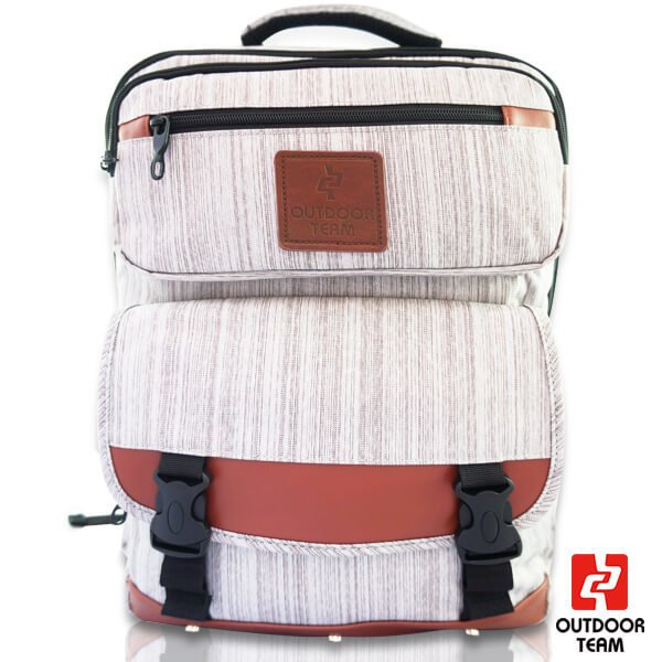 【禾雅】- OUTDOOR TEAM時尚休閒系列 -【OD8521-DA00】- 韓系 休閒 直拉鏈質感大容量後背包 -【低調灰】