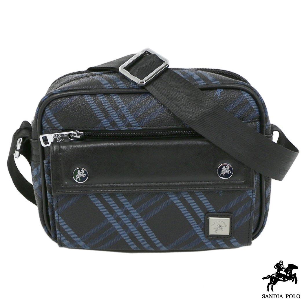 Sandia polo - 藍格紋系列防潑水防刮多夾層休閒側背包