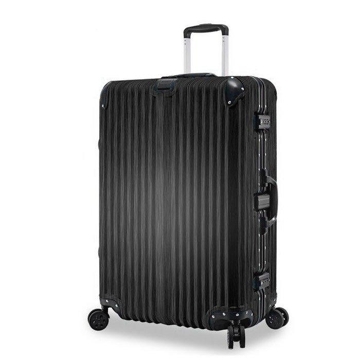 【禾雅時尚】紫禁之巔20吋鋁框PC木紋行李箱-尊爵黑