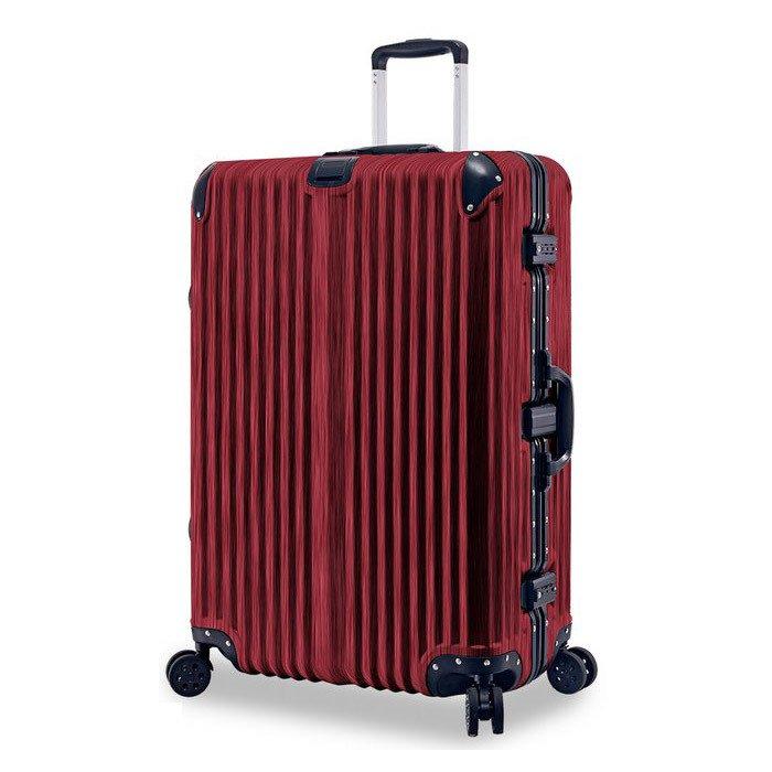 【禾雅時尚】紫禁之巔20吋鋁框PC木紋行李箱-木紋紅