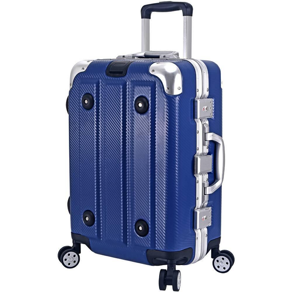 絕代風華29吋輕量鋁框碳纖紋行李箱-西藏青