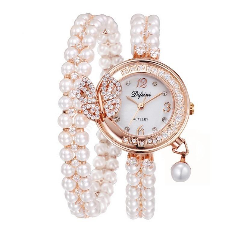 蝴蝶鑽雙圈珍珠手鍊錶