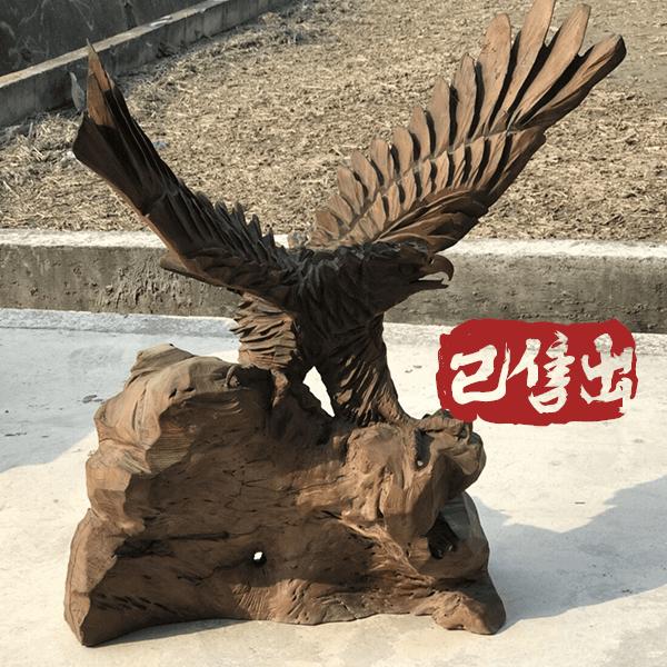 牛樟木-老鷹木雕