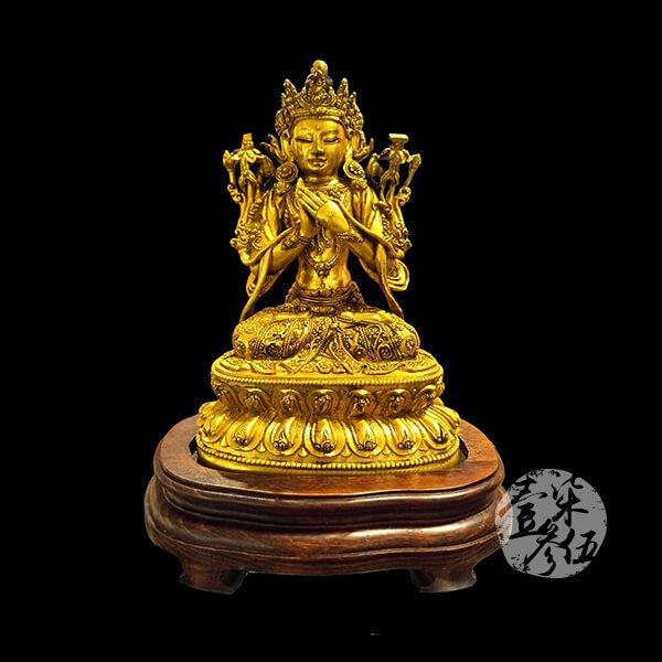 19世紀 鎏金銅彌勒佛像