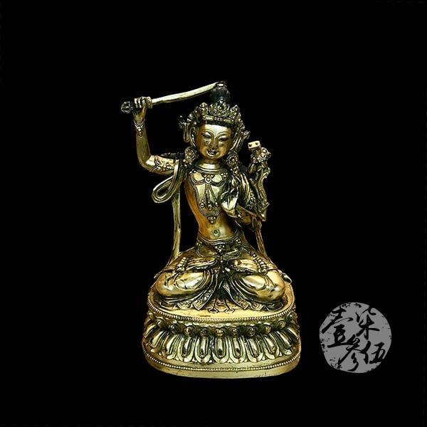 明朝 文殊菩薩鎏金銅佛像