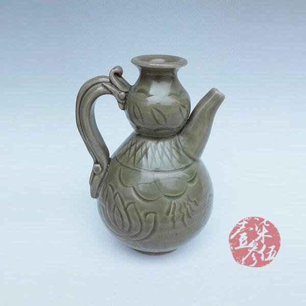 北宋 耀州窯蓮花紋葫蘆壷