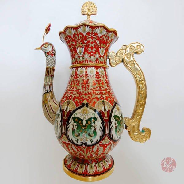 張同祿大師 景泰藍-孔雀壺