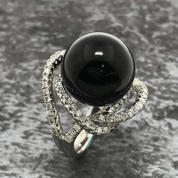 黑瑪瑙鑽石戒指