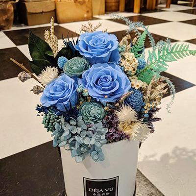 經典寶寶藍 客製永生花盒