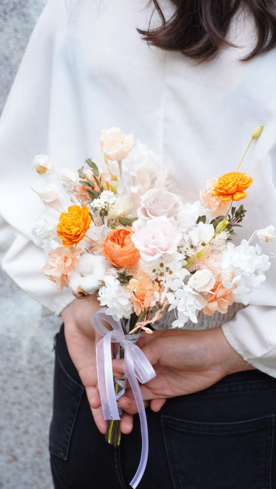 婚約之情| 永生暖橘小捧花