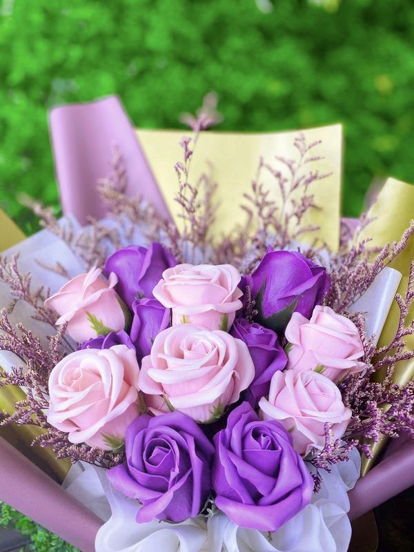 情人節肥皂花束(大)-浪漫粉紫