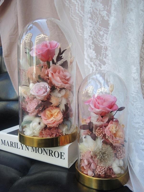 迪士尼永生花玻璃大盅罩-小豬