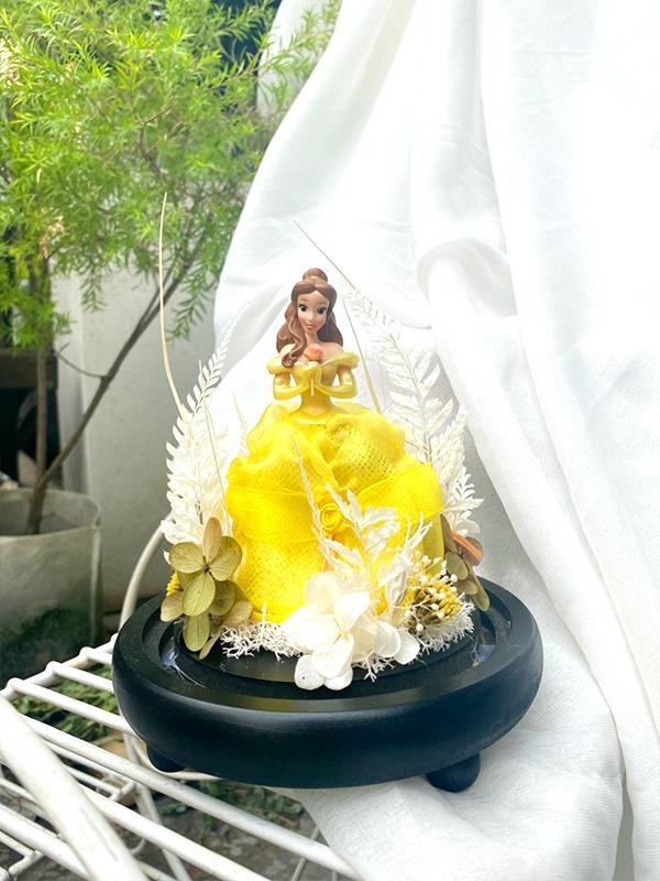 迪士尼公主永生花盅罩-貝兒