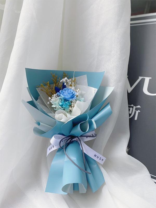 柔美系永生小花束-天空藍